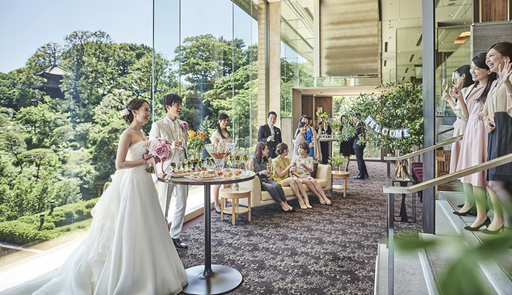 椿山荘の庭付き披露宴会場
